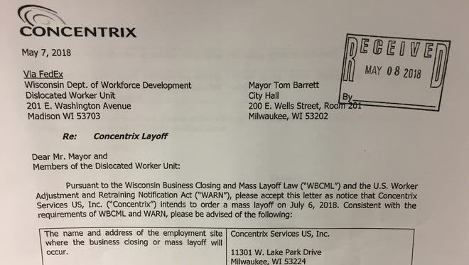Business services provider Concentrix notified officials Tuesday that it will lay off 77 Milwaukee employees.