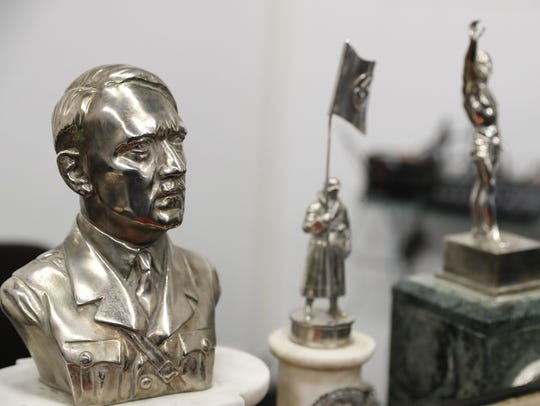 A bust of Adolf Hitler was among the finds.