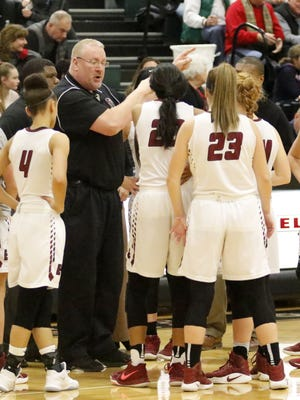 Elmira coach Jake Dailey talks to his team against Horseheads on Jan. 29 at Elmira High School.