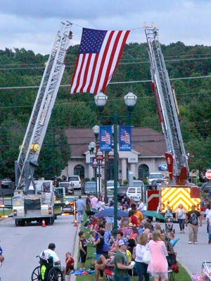 A borrowed American flag welcomes guest at the 2015 City of Fairview Independence Day Celebration.