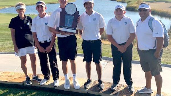 Members of the Pueblo West High School state runner-up boys golf team: Assistant coach Faith Clason, Adam Whitleff, Noah Wagner, Toby Salinas, Michael Richardson, and head coach Dan Sanchez.