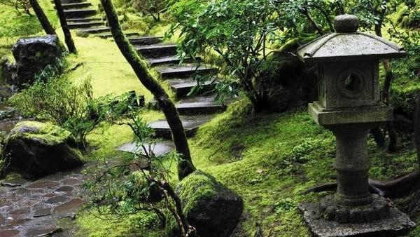 A staircase descends at the Portland Japanese Garden in Washington Park.
