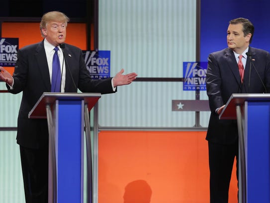 Donald Trump and Ted Cruz participate in the debate
