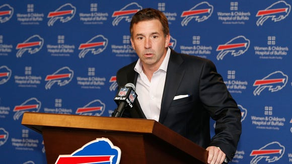Bills president Russ Brandon during Tuesday's news conference with LeSean McCoy.