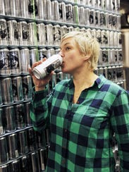 Alchemist co-owner Jen Kimmich drinks a Heady Topper