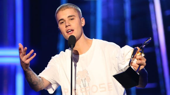 Justin Bieber is seen on stage during the 2016 Billboard