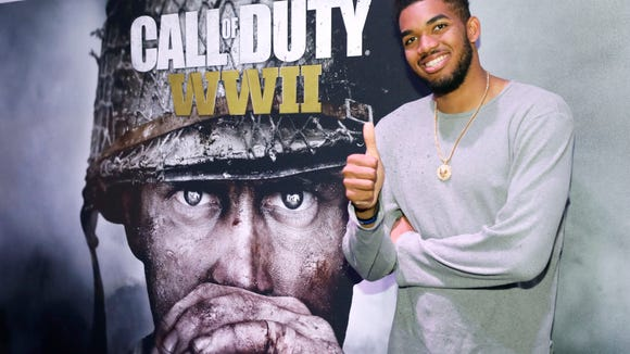 Karl-Anthony Towns, sponsored by Activision, visits