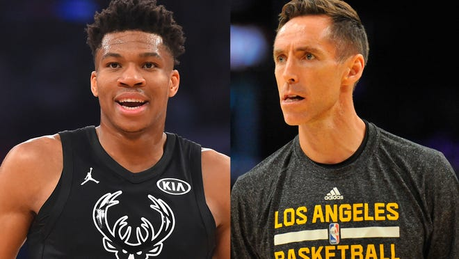 Giannis Antetokounmpo (left) and Steve Nash put on quite the display of soccer headers in a viral Bleacher Report video.