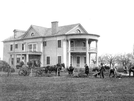 The neoclassical country estate at 710 Latta Road as it appeared in the early 20th century.