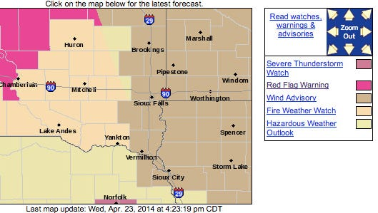 Weather warnings as of 4:25 p.m.