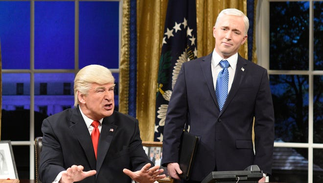 "Alec Baldwin, left, as President Donald Trump and Beck Bennett as Vice President Mike Pence in a scene from ""Saturday Night Live."""