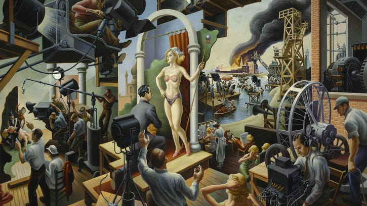 """Thomas Hart Benton's """"Hollywood,"""" is oil on a 56 be 84 inch canvas. Benton's work will be on display through Sept. 5 at the Milwaukee Art Museum."""
