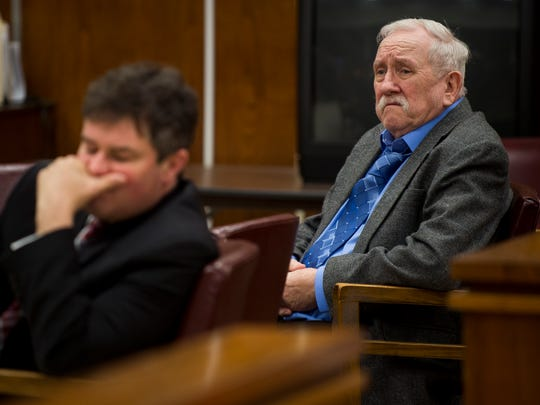 Lee Cromwell, right, and his attorney James Scott listen as each juror confirms the verdict at the end of Cromwell's trial at the Anderson County Criminal Court in Clinton on Wednesday, Feb. 15, 2017.