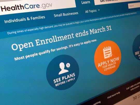 The home screen for HealthCare.gov warning that March 31 is the deadline to sign up for health insurance for 2014.