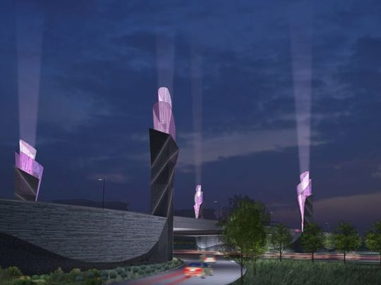 A rendering shows the proposed towers for Westfield. The city has since scaled back its plan to two towers.