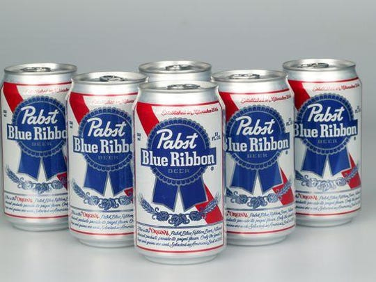 A six pack of Pabst Blue Ribbon Beer.