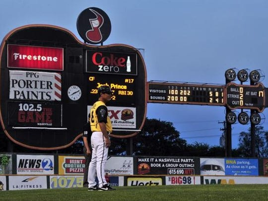 The guitar scoreboard during Greer Stadium's days as home to the Nashville Sounds. The stadium is now being demolished.