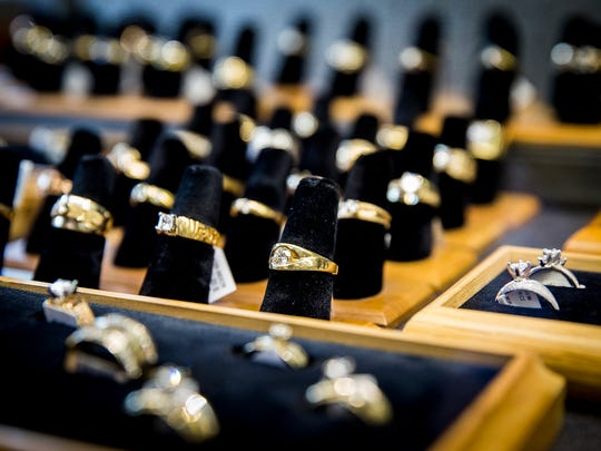 Rings on display at Murray's Jewelers in downtown Muncie.