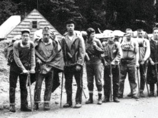 Liz Putnam (fourth from left) stands with volunteers in the newly formed Student Conservation Association in the Olympic National Park in 1957.
