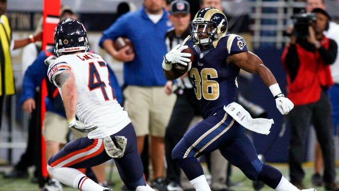 Rams running back Benny Cunningham rushed for 109 yards and a touchdown on Sunday against the Chicago Bears.