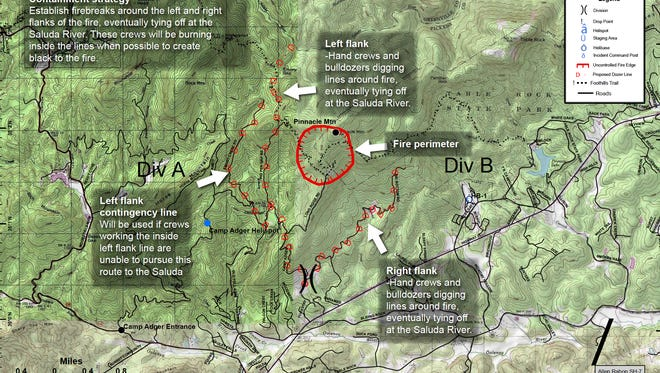 This map, provided by the South Carolina Forestry Commission, lays out the topography and stategy for fighting the forest fire atop Pinnacle Mountain.