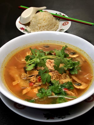 Cary Chay ( No. 16C ), tofu and vegtable curry soup served with steamed rice or noodles, served at A Dong.