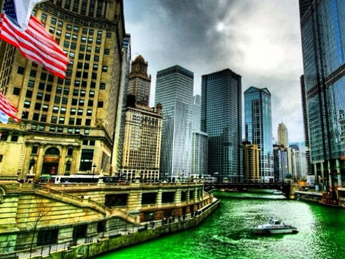 Looking for inspiration for St. Patrick's Day? We combed Instagram for some of the most festive shots from last year's celebrations around the world. Pictured:  Chicago.