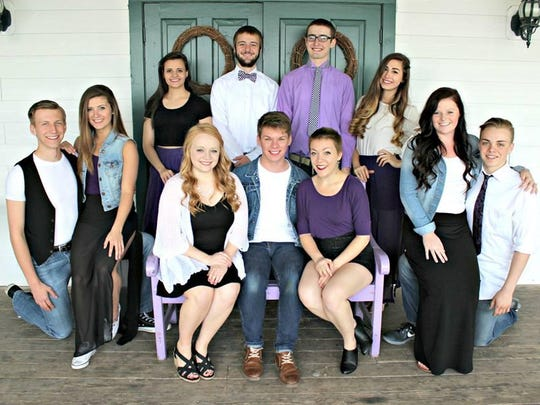 Victorian Village Summer Revues perform Wednesdays through Aug. 19 in the Victorian Village Resort Theater. Pictured, top row, from left, are: Carter Krzyzaniak, Sara Darr, Jackey Boelkow, Nick Kopitzke, Adam Poltrock, Elyse Gutschow, Madison Heginbottom, Caleb Justinger; front row, from left, Dana Kluz, Sethe Jaymes, Hilary Mayer.