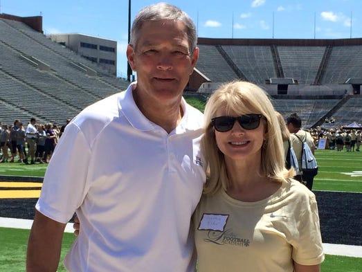 Iowa head football coach Kirk Ferentz and KCCI's Cynthia
