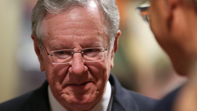 Steve Forbes visits with guests before the Robb Kelley Spring Dinner on Tuesday, May 20, 2014, at the downtown Marriott Hotel in Des Moines, Iowa.