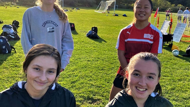 Sturgis West girls' soccer captains include (front row, from left) Sierra Bellaire and Sarah Howes; (back row) Sydney Ahern and JJ Kaczorowski.