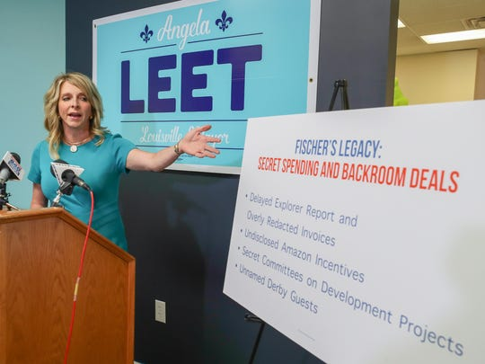 Republican mayoral candidate Angela Leet held a press conference Thursday to question Mayor Greg Fischer's transparency.