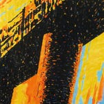 """Artist Robert Halliday's new works in the exhibit """"Bridges"""" at Kentucky Fine Art Gallery focuses on the lines and strength of bridges in the wake of the opening of Louisville's Abraham Lincoln Bridge."""