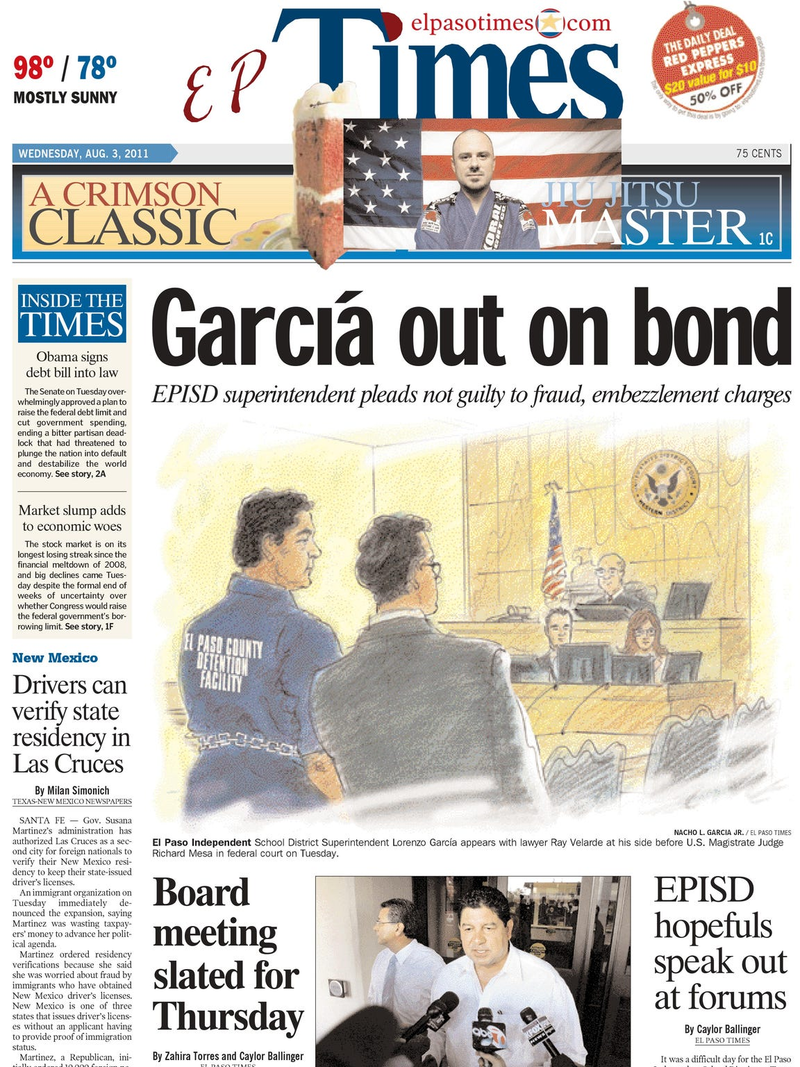 The El Paso Times' front page from Wednesday, Aug.