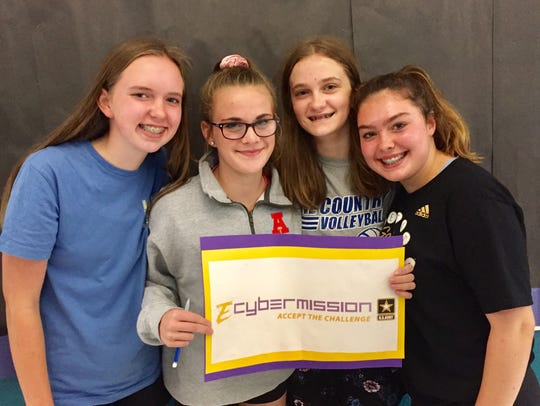 Lake Country School students who won an honorable mention at the state eCybermission competition were (from left) Lauren Peterson, Olivia Schneider, Sydney Marsh and Caroline Nunnally.