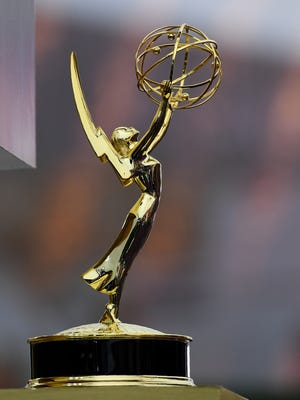 An Emmy statuette is seen on the red carpet before the 71st Emmy Awards in 2019 at the Microsoft Theatre in Los Angeles.