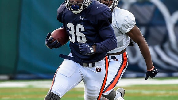 Kamryn Pettway (36) Auburn football practice on Wednesday,