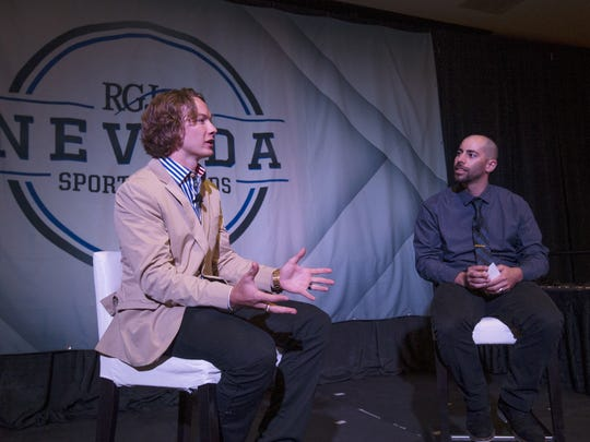 David Wise, left, speaks with the RGJ's Chris Murray during the RGJ Nevada Sports Awards Ceremony in 2016.