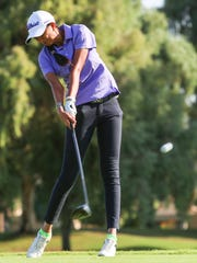Recent Olympian Aditi Ashok of India tees off during