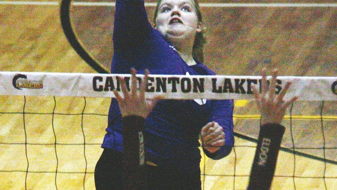 Camdenton senior Sydney Smith delivers a spike in a game against Eldon on Tuesday, September 1 in Camdenton. Smith finished with 11 kills, two service aces, two blocks, three digs and 18 assists for the Lakers.