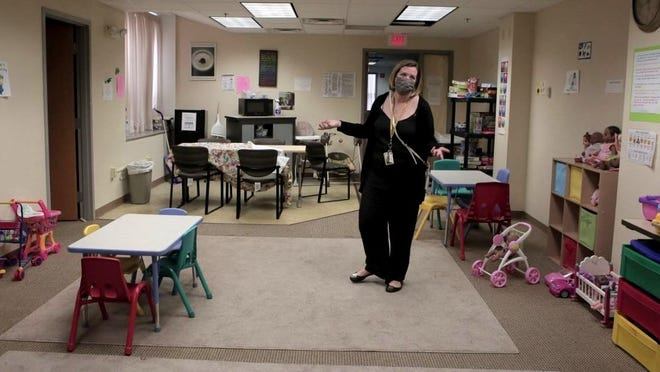 Erin Perkins, Director of Special Education at Quincy Public Schools gives a tour of the new renovation to be expected for the new Richard DeCristofaro Learning Center for special-ed students in Quincy on Thursday August 27, 2020. Photo by Lauren Owens Lambert.