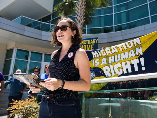 Claudia Rueda member of the Corpus Christi Immigration Coalitio speaks during a press conference as part of the statewide Day of Action against SB4 outside the Corpus Christi United Chamber of Commerce office on Tuesday, Aug. 1, 2017.