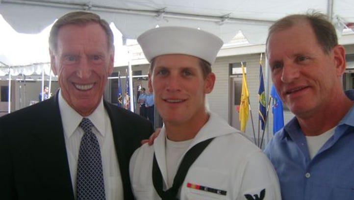 Charlie Keating IV, (center) at his Navy SEAL graduation