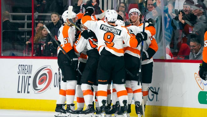 An overtime win Tuesday night put the Flyers in the top wild card spot in the Eastern Conference.