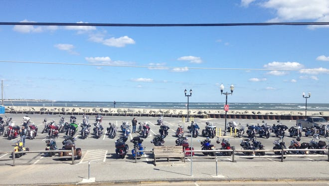 Bikers rest after a Ride to Rebuild in Wildwood.