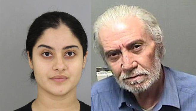 Zahra Zuhair Alwajed, 28, left, and Mohammad Derani, 67, were both arrested after the Michigan State Police conducted a search warrant on a doctor's office in the city of Dearborn.