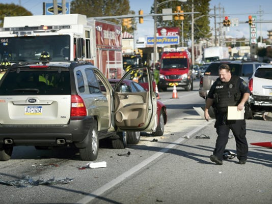 A four-vehicle chain reaction accident just west of 16th Street on Route 422 in North Cornwall Township resulted in minor injuries but closed the eastbound lanes of Route 422 for about an hour Sunday shortly after 4 p.m. Three of the four vehicles were towed.