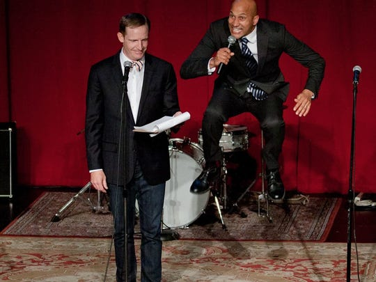 Marc Evan Jackson, left, and Keegan Michael Keyat the second annual Detroit Party in Los Angeles to benefit the Detroit Creativity Project