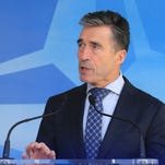 NATO Secretary-General Anders Fogh Rasmussen addresses the media after a NATO Ambassadors Council at NATO headquarters in Brussels on April 16, 2014.