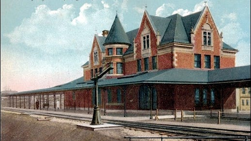 Postcard painting of Western Maryland Railway Passenger Depot in York, PA, ca. 1900 (Collections of S. H. Smith)